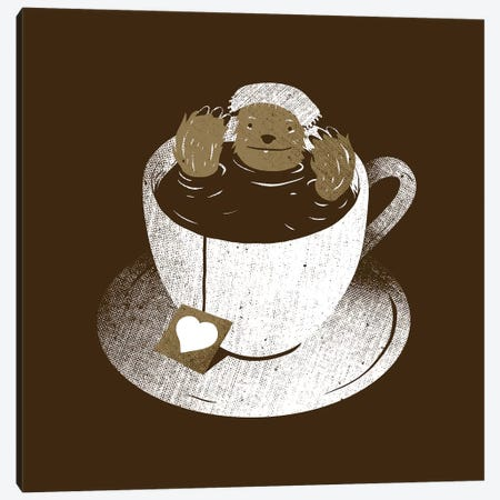 Monday Bath Sloth Coffee Canvas Print #TFA617} by Tobias Fonseca Canvas Art Print