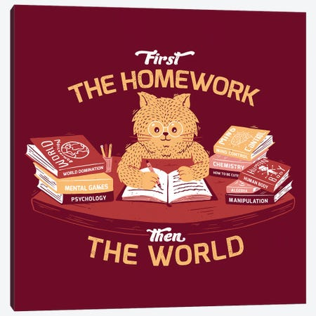 First The Homework, Then The World 3-Piece Canvas #TFA628} by Tobias Fonseca Art Print