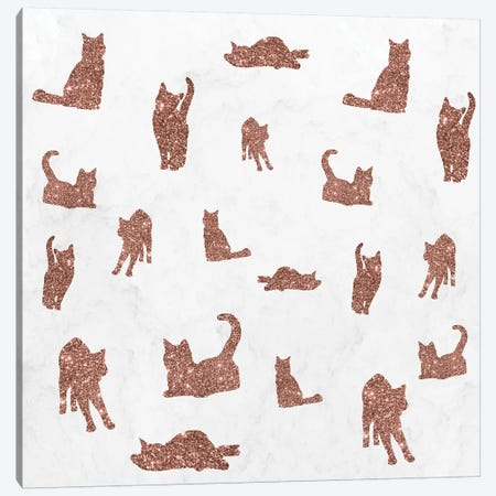 I Love Glitter I Love Cat Pattern Canvas Print #TFA657} by Tobias Fonseca Art Print