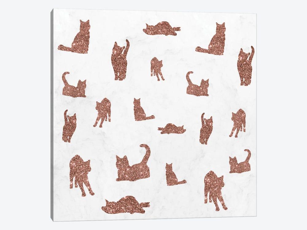 I Love Glitter I Love Cat Pattern by Tobias Fonseca 1-piece Canvas Art Print
