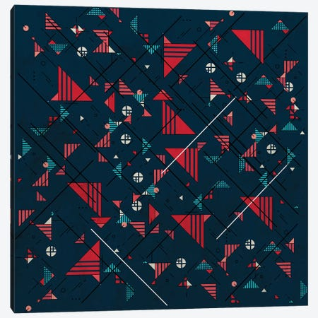 Geometric Abstract Red Pattern II Canvas Print #TFA658} by Tobias Fonseca Canvas Art