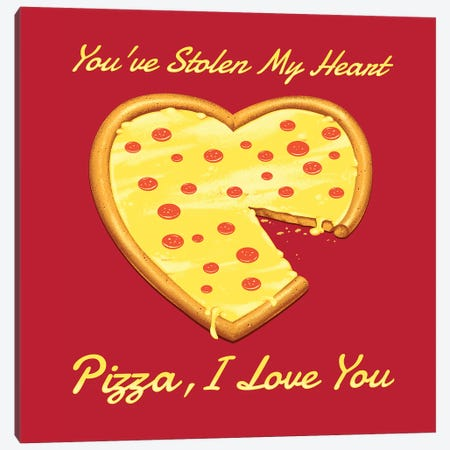 You've Stolen My Heart, Pizza Canvas Print #TFA660} by Tobias Fonseca Canvas Art Print