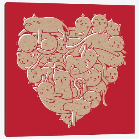 I Love Cats Heart Red Canvas Print #TFA670} by Tobias Fonseca Canvas Wall Art