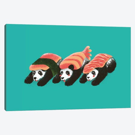 Panda Sushi Canvas Print #TFA6} by Tobias Fonseca Canvas Art Print