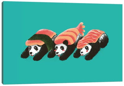 Panda Sushi Canvas Print #TFA6