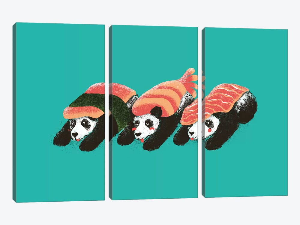 Panda Sushi by Tobias Fonseca 3-piece Canvas Wall Art