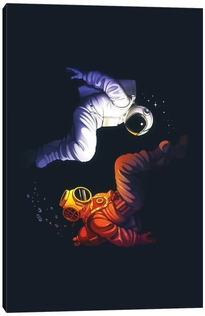 Yin Yang Astronaut Scuba Canvas Art Print