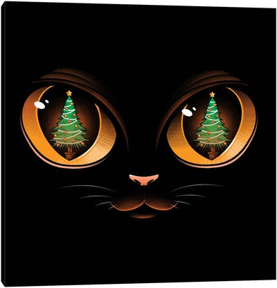 Xmas Cat Attack Canvas Art Print