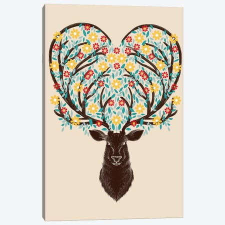 Blooming Deer Canvas Print #TFA90} by Tobias Fonseca Canvas Art Print