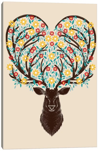 Blooming Deer Canvas Art Print