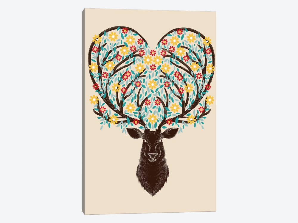 Blooming Deer by Tobias Fonseca 1-piece Canvas Artwork
