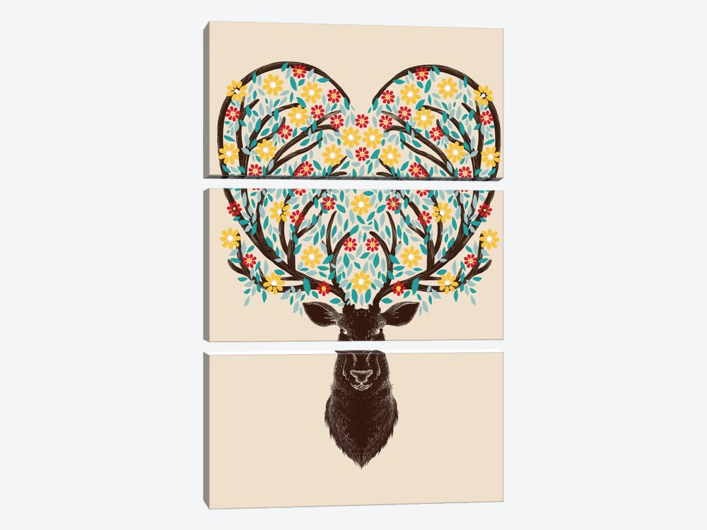 Blooming Deer 3-piece Canvas Wall Art