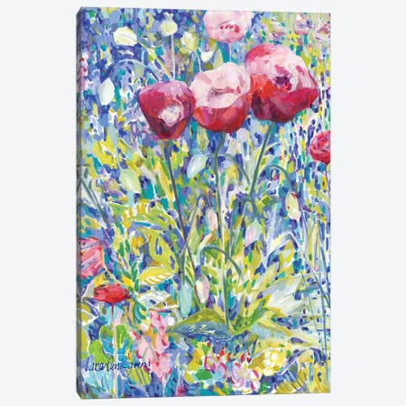 Three Poppies in Garden Canvas Print #TFG19} by Tara Funk Grim Canvas Art Print