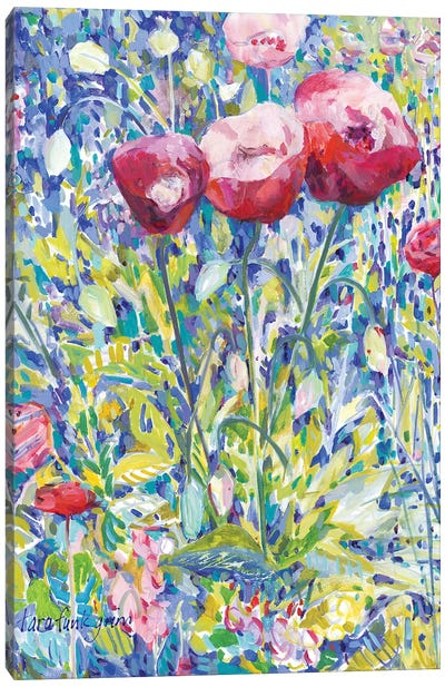 Three Poppies in Garden Canvas Art Print