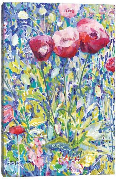 Three Poppies in Garden Canvas Art Print