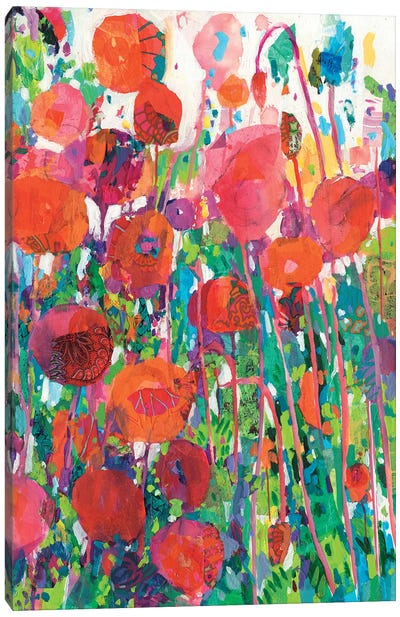 Vivid Poppy Collage II Canvas Art Print