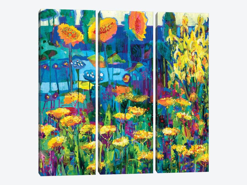 Yellow Garden I by Tara Funk Grim 3-piece Canvas Artwork