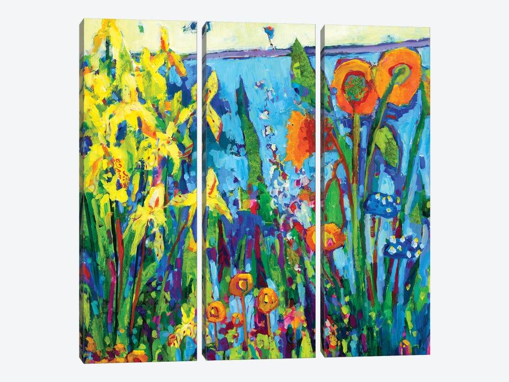 Yellow Garden II by Tara Funk Grim 3-piece Canvas Print
