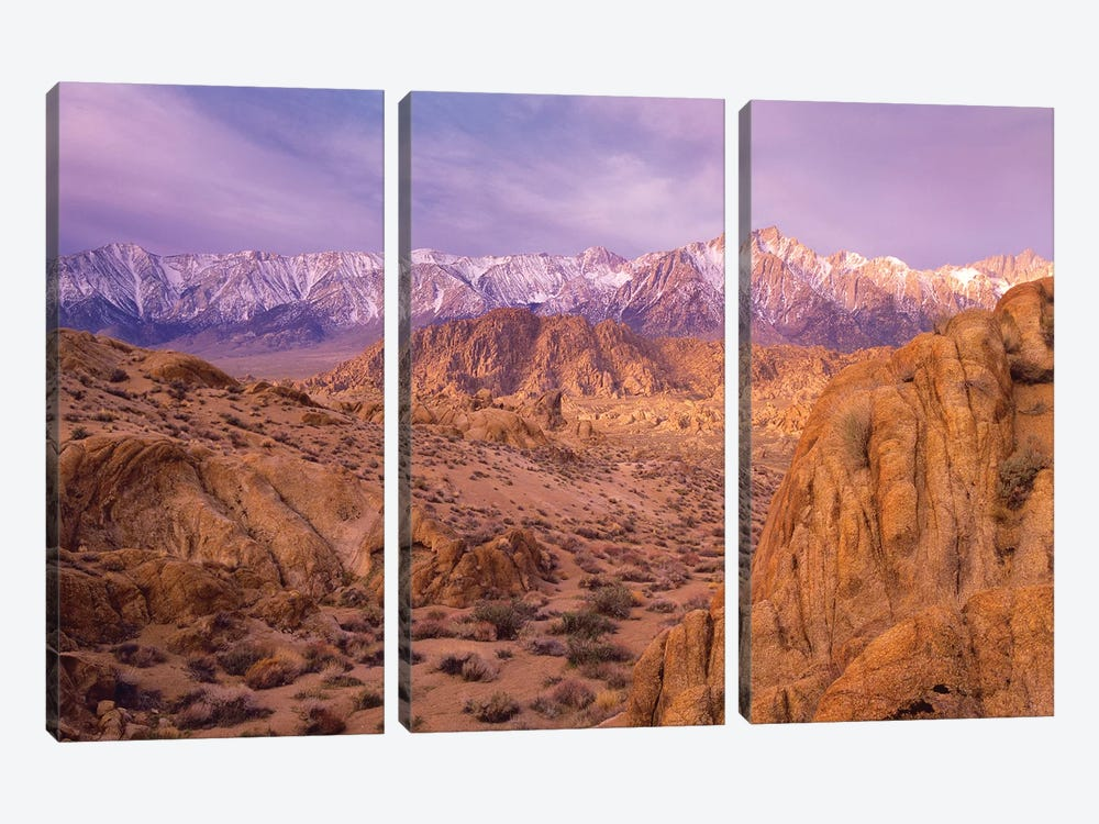 Sierra Nevada Range From Alabama Hills, California by Tim Fitzharris 3-piece Canvas Print