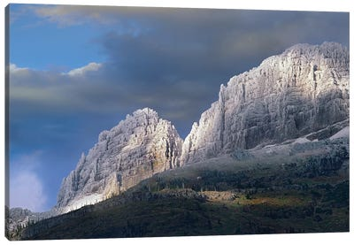 Snow Dusted Mountains, Glacier National Park, Montana Canvas Art Print