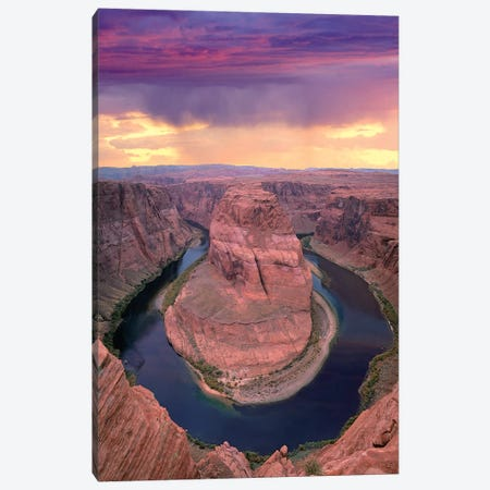 Storm Clouds Over The Colorado River At Horseshoe Bend Near Page, Arizona Canvas Print #TFI1038} by Tim Fitzharris Canvas Artwork