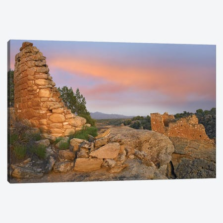 Stronghold House With Sleeping Ute Mountain, Hovenweep National Monument, Utah Canvas Print #TFI1040} by Tim Fitzharris Art Print