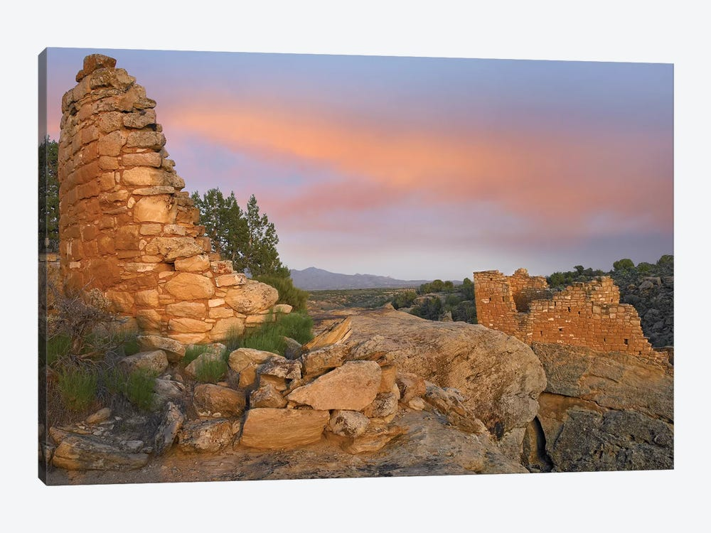 Stronghold House With Sleeping Ute Mountain, Hovenweep National Monument, Utah by Tim Fitzharris 1-piece Canvas Art Print