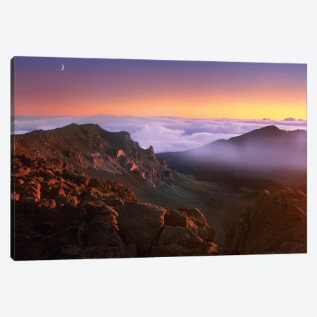 Sunrise And Crescent Moon Overlooking Haleakala Crater, Maui, Hawaii Canvas Print #TFI1045} by Tim Fitzharris Canvas Artwork