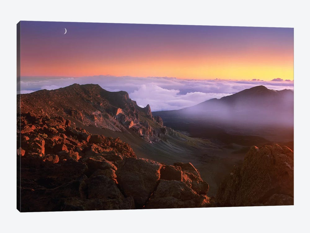 Sunrise And Crescent Moon Overlooking Haleakala Crater, Maui, Hawaii by Tim Fitzharris 1-piece Canvas Artwork