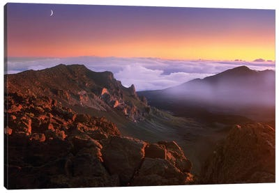 Sunrise And Crescent Moon Overlooking Haleakala Crater, Maui, Hawaii Canvas Art Print