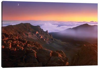 Sunrise And Crescent Moon Overlooking Haleakala Crater, Maui, Hawaii Canvas Art Print