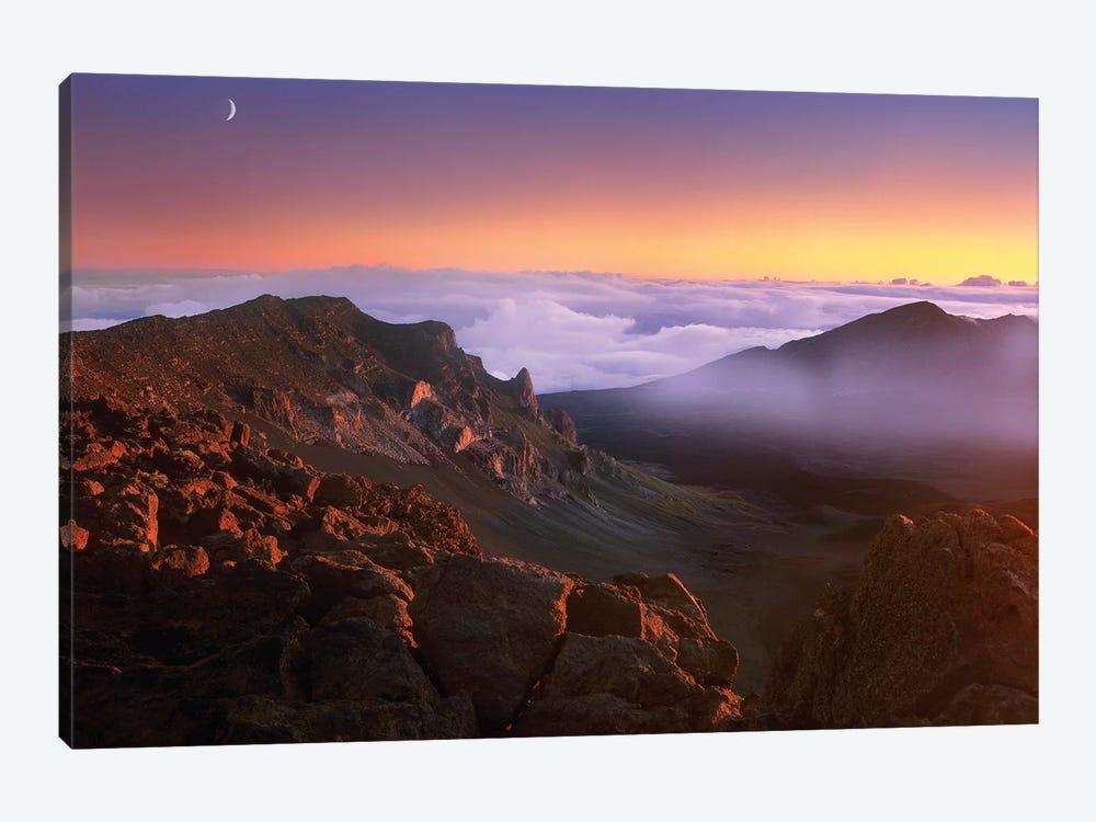 Sunrise And Crescent Moon Overlooking Haleaka Tim Fitzharris Icanvas