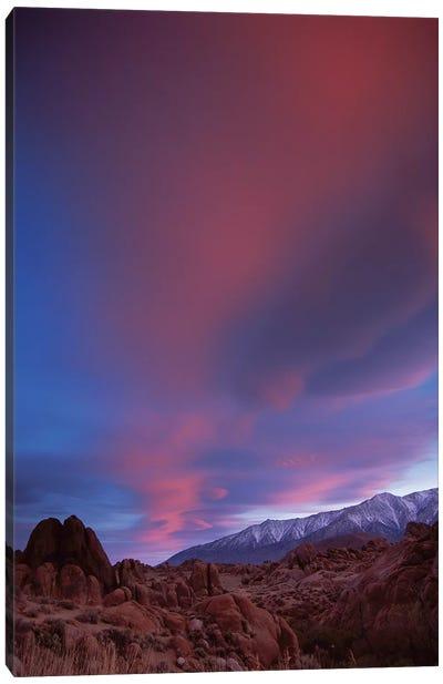 Sunrise Over The Sierra Nevada Range Seen From Alabama Hills, California Canvas Art Print
