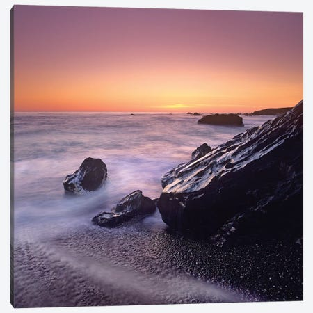 Sunset At San Simeon State Park Big Sur, California Canvas Print #TFI1053} by Tim Fitzharris Canvas Artwork