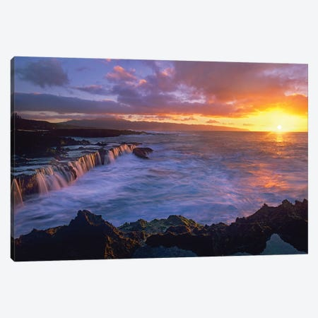 Sunset At Shark's Cove, Oahu, Hawaii Canvas Print #TFI1054} by Tim Fitzharris Art Print