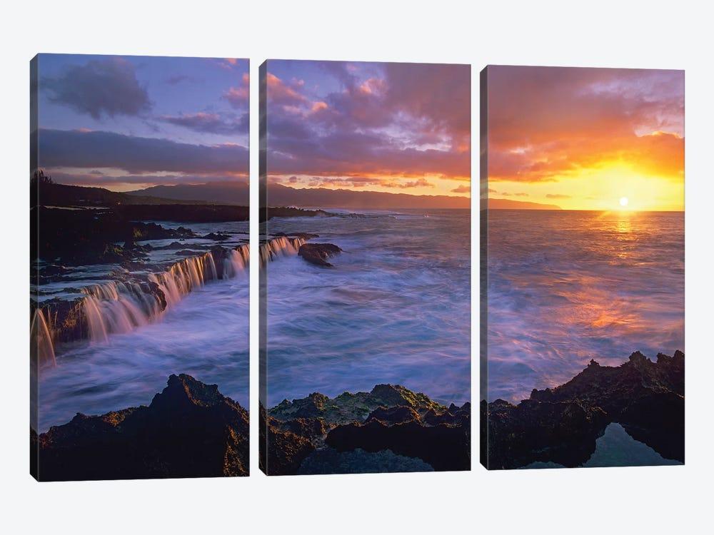 Sunset At Shark's Cove, Oahu, Hawaii by Tim Fitzharris 3-piece Canvas Wall Art