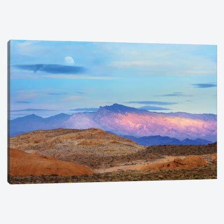 Sunset Lighting Up Mountains Under A Full Moon In Valley Of Fire State Park, Mojave Desert, Nevada Canvas Print #TFI1056} by Tim Fitzharris Art Print