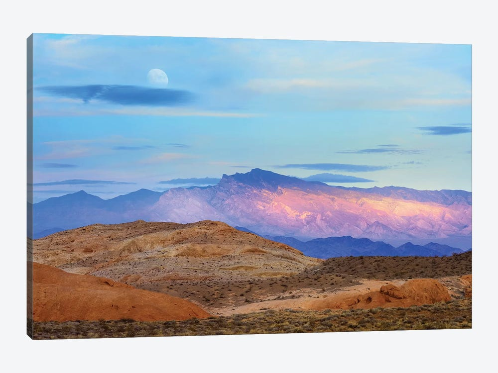 Sunset Lighting Up Mountains Under A Full Moon In Valley Of Fire State Park, Mojave Desert, Nevada by Tim Fitzharris 1-piece Canvas Art