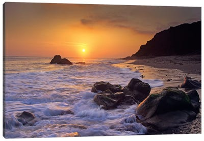 Sunset Over Leo Carillo State Beach, Malibu, California Canvas Art Print
