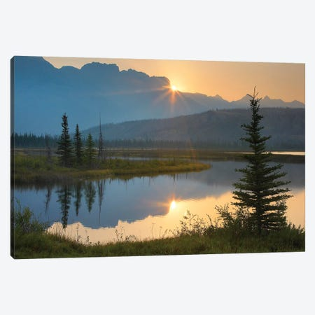 Sunset Over Miette Range And Talbot Lake, Jasper National Park, Alberta, Canada Canvas Print #TFI1061} by Tim Fitzharris Art Print