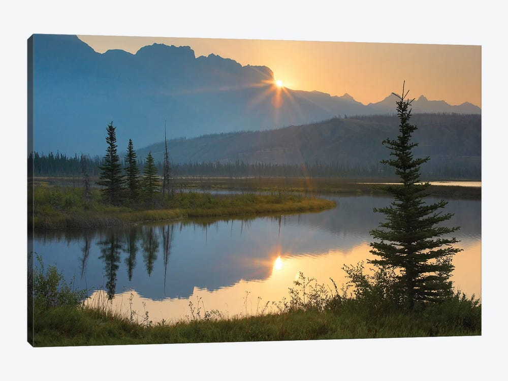 Sunset Over Miette Range And Talbot Lake, Jasper National Park, Alberta, Canada 1-piece Canvas Art
