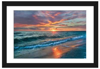 Sunset Over Ocean, Gulf Islands National Seashore, Florida Framed Art Print