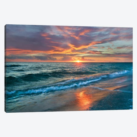 Sunset Over Ocean, Gulf Islands National Seashore, Florida Canvas Print #TFI1062} by Tim Fitzharris Canvas Art Print
