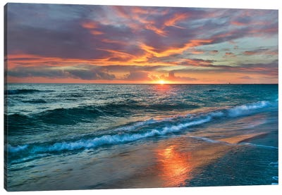 Sunset Over Ocean, Gulf Islands National Seashore, Florida Canvas Art Print