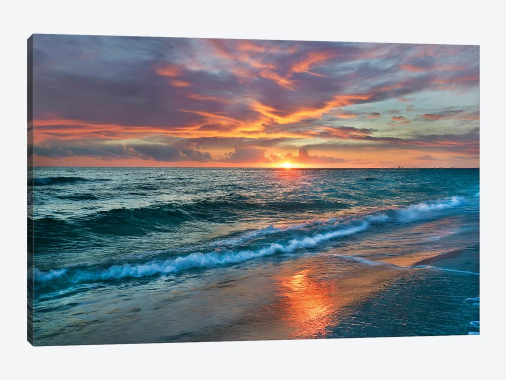 Sunset Over Ocean, Gulf Islands National Seashore, Florida 1-piece Art Print