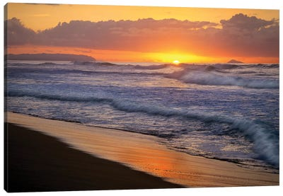 Sunset Over Polihale Beach, Kauai, Hawaii Canvas Art Print