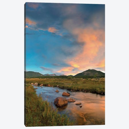 Sunset Over River And Peaks In Moraine Park, Rocky Mountain National Park, Colorado Canvas Print #TFI1064} by Tim Fitzharris Canvas Artwork