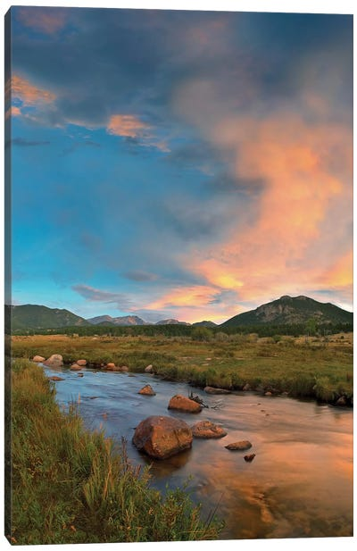 Sunset Over River And Peaks In Moraine Park, Rocky Mountain National Park, Colorado Canvas Art Print
