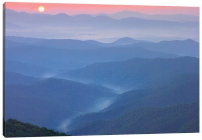 Sunset Over The Pisgah National Forest From The Blue Ridge Parkway, North Carolina II Canvas Art Print