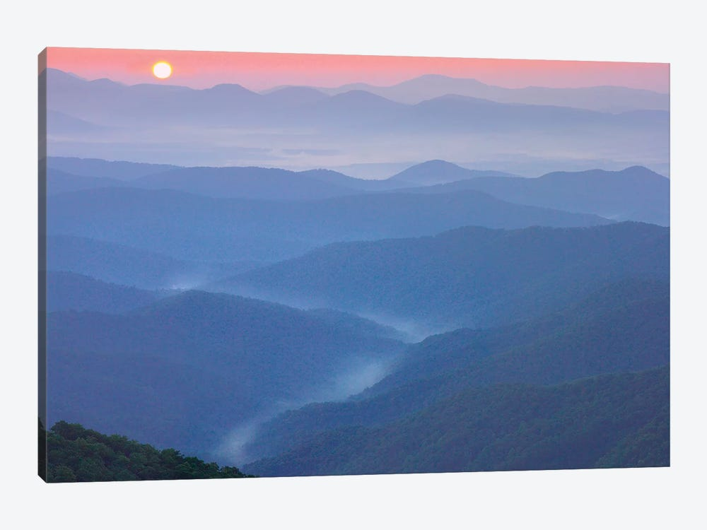 Sunset Over The Pisgah National Forest From The Blue Ridge Parkway, North Carolina II by Tim Fitzharris 1-piece Canvas Art Print